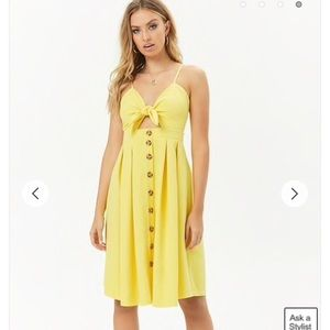 Small tie top button down yellow summer dress